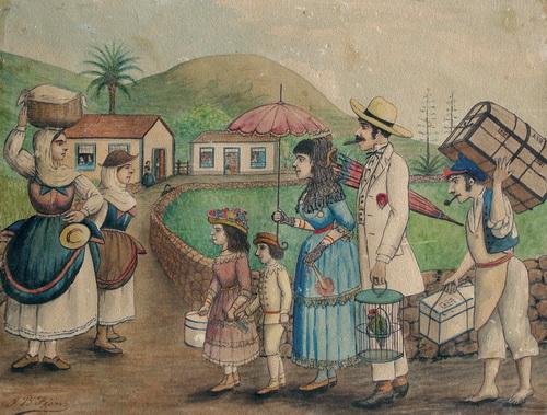Regreso indianos Acuarela de Juan Batista Fierro