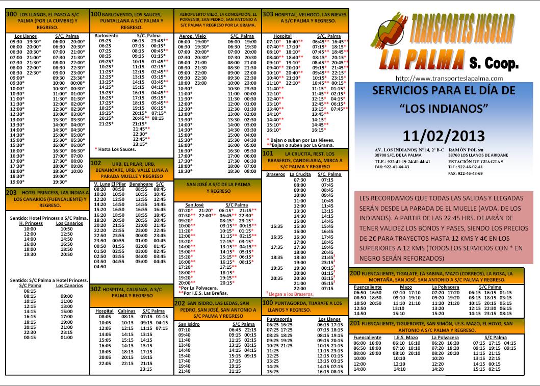 Horario de Guaguas en Indianos 2013