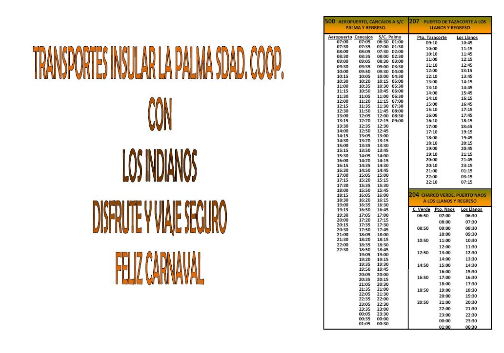 Horario de Guaguas Indianos 2013