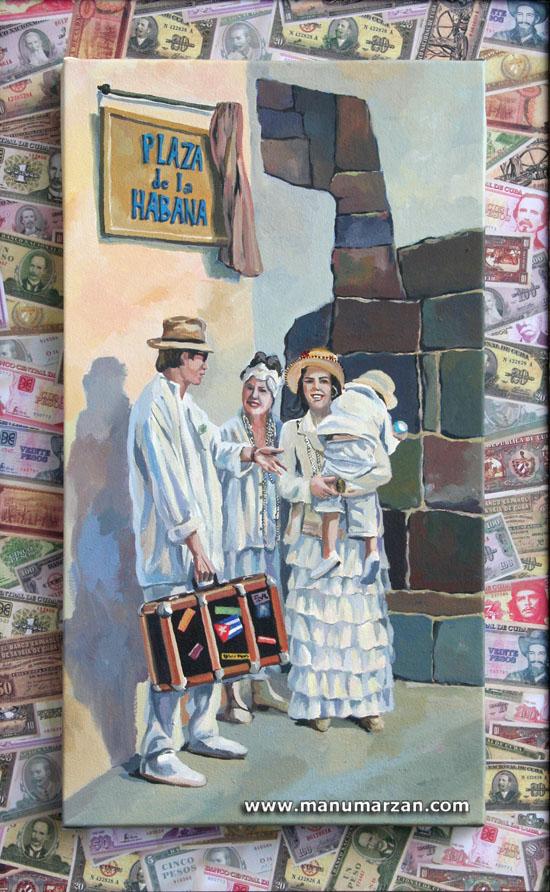 Familia Indiana en Plaza de La Habana. Original NO Disponible: Reproducciones: 26 x 49 cms. 30 Euros. 29 x 52 con marco: 48 Euros.