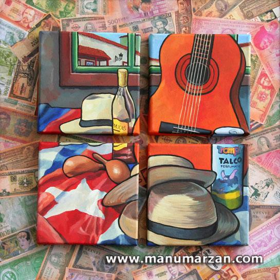 Bodegón Indiano. Original Disponible. Óleo sobre cuatro lienzos 20 x 20 cms. montados en madera con collage. 71 x 71 cms. 450 Euros.  Reproducciones: (Por encargo)
