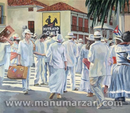 """Indianos y """"Nitrato de Chile"""" Original Disponible. Óleo sobre lienzo. 55 x 48 cms. 450 Euros. Reproducciones:  47 x 55 cms. 65 Euros."""