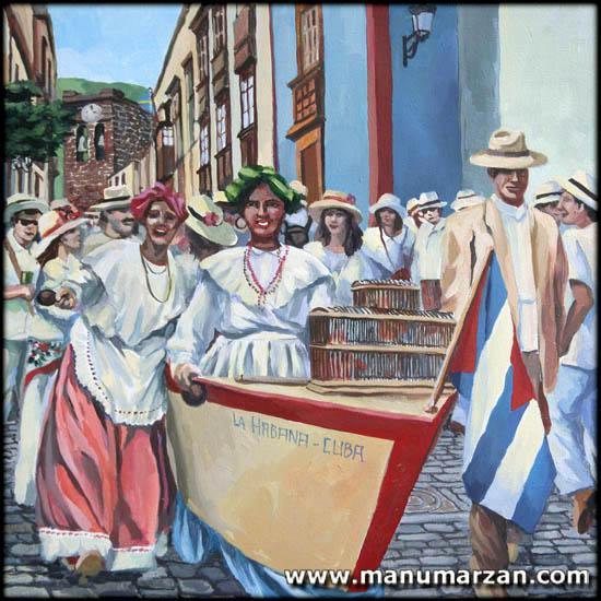 Desfile de Indianos. Original NO Disponible. Reproducciones: 30 x 30 cms. 25 Euros.