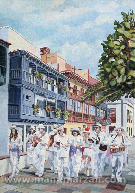 """Indianos en """"Los Balcones"""" Original NO Disponible. Reproducciones:  37 x 54 cms.. 50 Euros."""