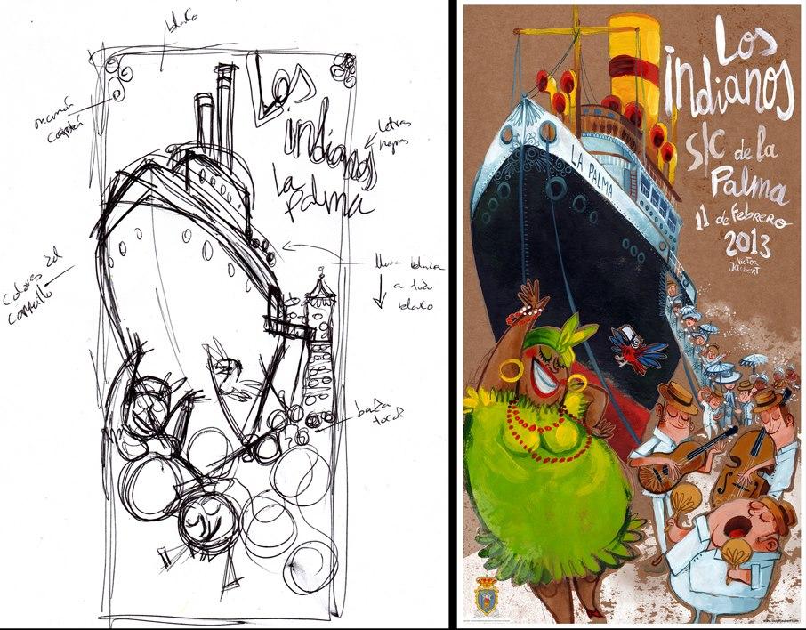 Boceto y resultado final del cartel de Indianos 2013
