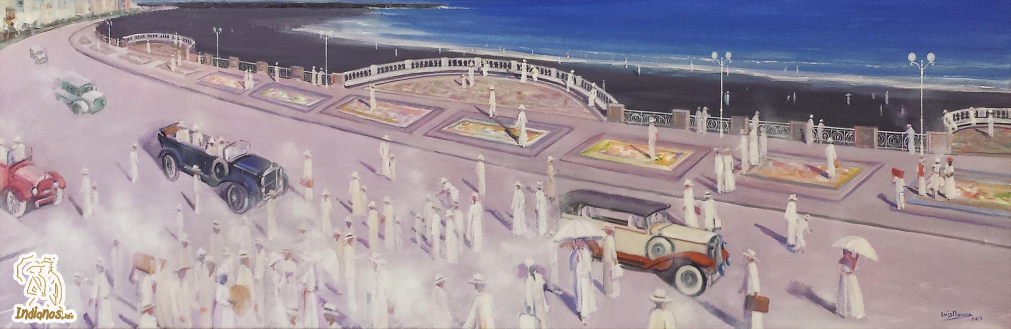 'Los Indianos' de Luis Morera inundan su particular visión de la nueva Avenida Marítima y Playa de Santa Cruz de La Palma.